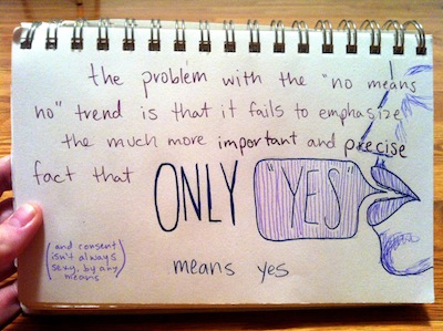 »the problem with the ›no means no‹ trend is that it fails to emphasize the much more important and precise fact tha ONLY ›YES‹ means yes«